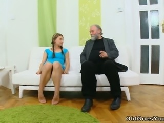 Barely legal Slavic babe Anna gets her muff licked by kinky geezer