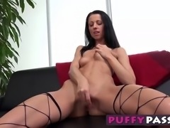 Using a purple sex toy, this horny babe slides them inside her ass as she...