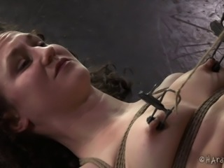 Black guy with a bondage fetish tortures the curly-haired babe