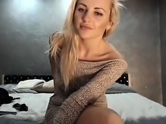 Dazzling blonde camgirl displays her divine ass and toys he