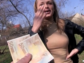 Euro cutie takes the money and gladly gives a cock ride on the grass