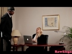 Busty eurobabe interracial assfucked on desk