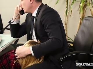 Blue eyed slutty blondie Anny Aurora sucks her boss off sitting under the office table