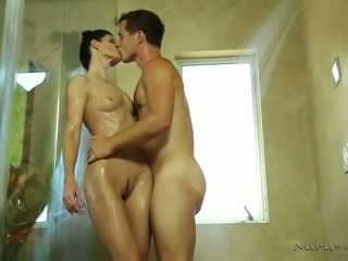 Leggy raven haired  fuck doll has steamy session with horny dude in the shower