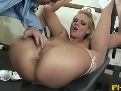 She's a nerdy blonde nurse whose anus needs to be banged hard
