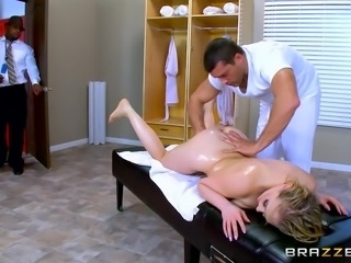 amazing threesome on massage table
