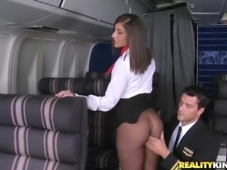 curvy flight attendant sucks a pilot!