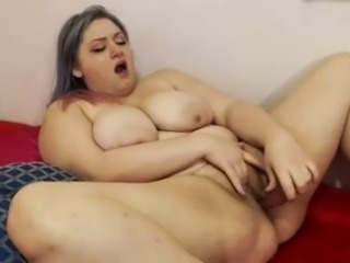 BBW slut poking wet vagina with big sex toy in solo video