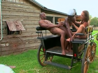 Old coach is a nice place for them to have an interracial threesome!