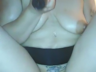 Chubby Latina Sensually Inserts a Long Dildo