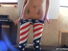 Gorgeous brunette Asian slut has a webcam wank