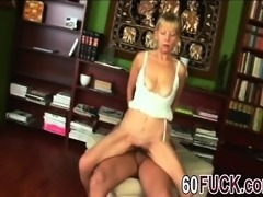 Blonde granny gets her mouth and hairy pussy fucked