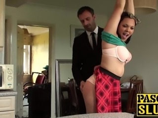Khloe White spanked on the ass and banged hard on the couch