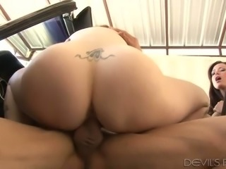 Sexy redhead and busty brunette take part in hot 3 some
