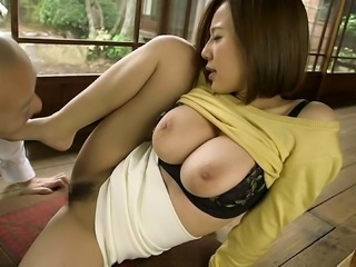 Lecherous Japanese milf with a hairy pussy gets a facial cumshot  after...