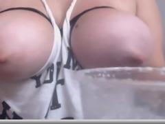 White Girl Milking Her Tits