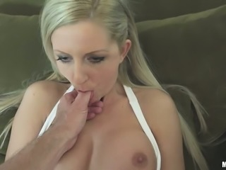 Thirsting blond haired filth with long nails gets banged in mish style after solid BJ