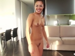 Charming black haired bitch Apolonia pleasures her buddy with solid BJ in shower