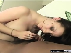 Stacked brunette nympho takes a long black stick for an exciting ride