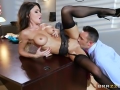 Busty dark haired sweetie in stockings pleases kinky judge in the office