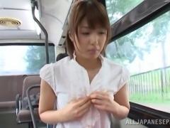 Nanami Kawakam is fingered in a public bus