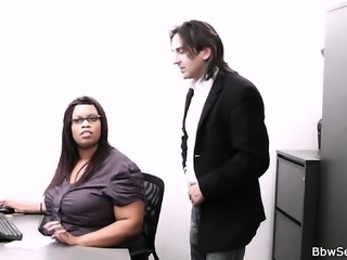 Fat ebony secretary rides boss's cock