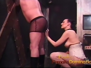 Kinky guy loves getting spanked by a hot chick with big