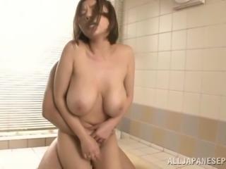 Busty hot ass chick Ruri Saijoh enjoys a good bath fuck