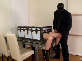 Senorita with the latex fetish spreads her legs to be dicked hard