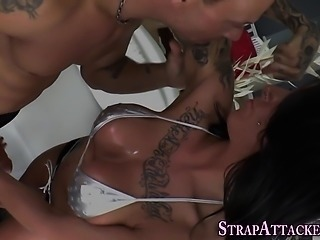 Busty domina swallows cum
