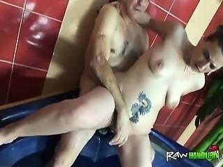 One Armed Guy Fucks Hot Slut In The Bath Tub