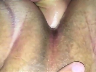 Fistfucking her Shaved muff - Closeup