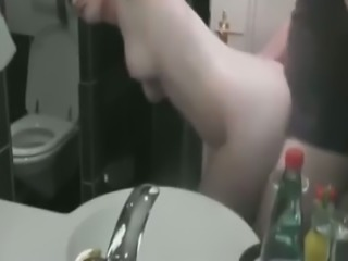 Shagging my sexy girl in front of the mirror in the bathroom