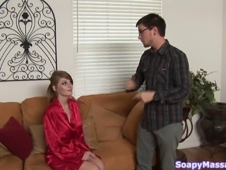 Faye Reagan body massage finishes with a sexy blowjob