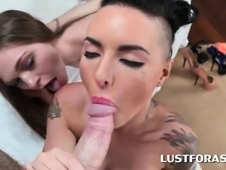 Ass to ass hoes sharing monster dick in 3some