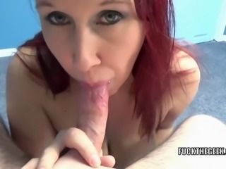 Mature redhead Lia Shayde swallows a stiff cock and takes the cum all over...