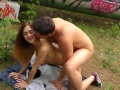 DeutschlandReport - German babe tastes cum in the forest