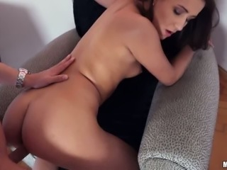 Dark haired whorish bitch with cute tight ass gets doggy fucked tough