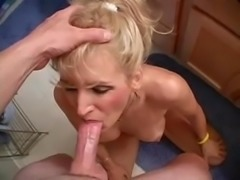 She swallows cum in the Bathroom