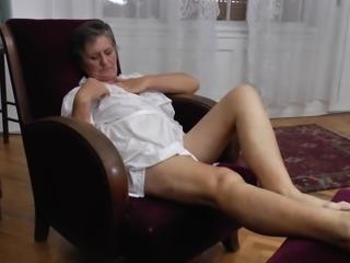 This horny granny masturbates every single day of the week