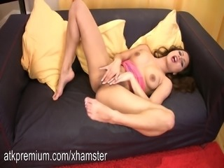 Chelsea rubs her wet slit with trembling fingers