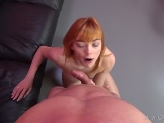 Red haired wanton GF Anny Aurora sucks hard dick of kinky man on cam
