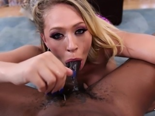 cock gobbling blonde bitch swallows his sperm