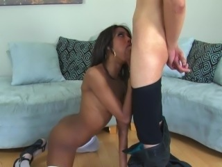 Skinny ebony hardbody fucking in white stockings and sexy high heels