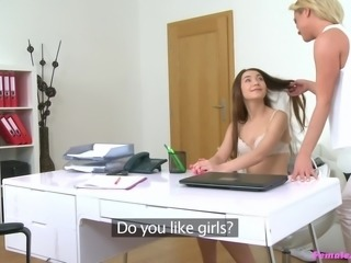 Cristal wanted to hire a super sexy model for her lingerie collection. The girl should have a curvy figure and will expose her assets. She undressed the candidate and examined her lady parts. She kissed her pussy lips and sucked her boobs. She fingered her cunt and made her asshole wet with saliva...
