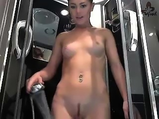 Sexy young girl with landing strip shows how she pleasures