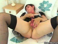 British milf Zanderlee gets off hard in her maid uniform