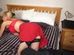 Sexy granny in red with hungry old cunt