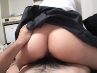 Subtitled uncensored Japanese schoolgirl POV blowjob and sex