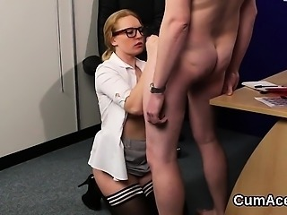 Unusual centerfold gets cumshot on her face swallowing all t